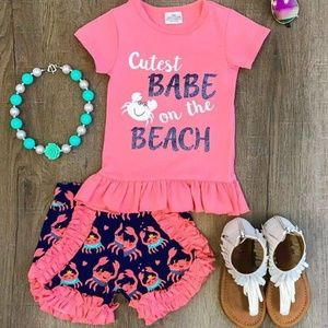 Other - Girls Cutest Babe On The Beach Ruffle Shorts Set